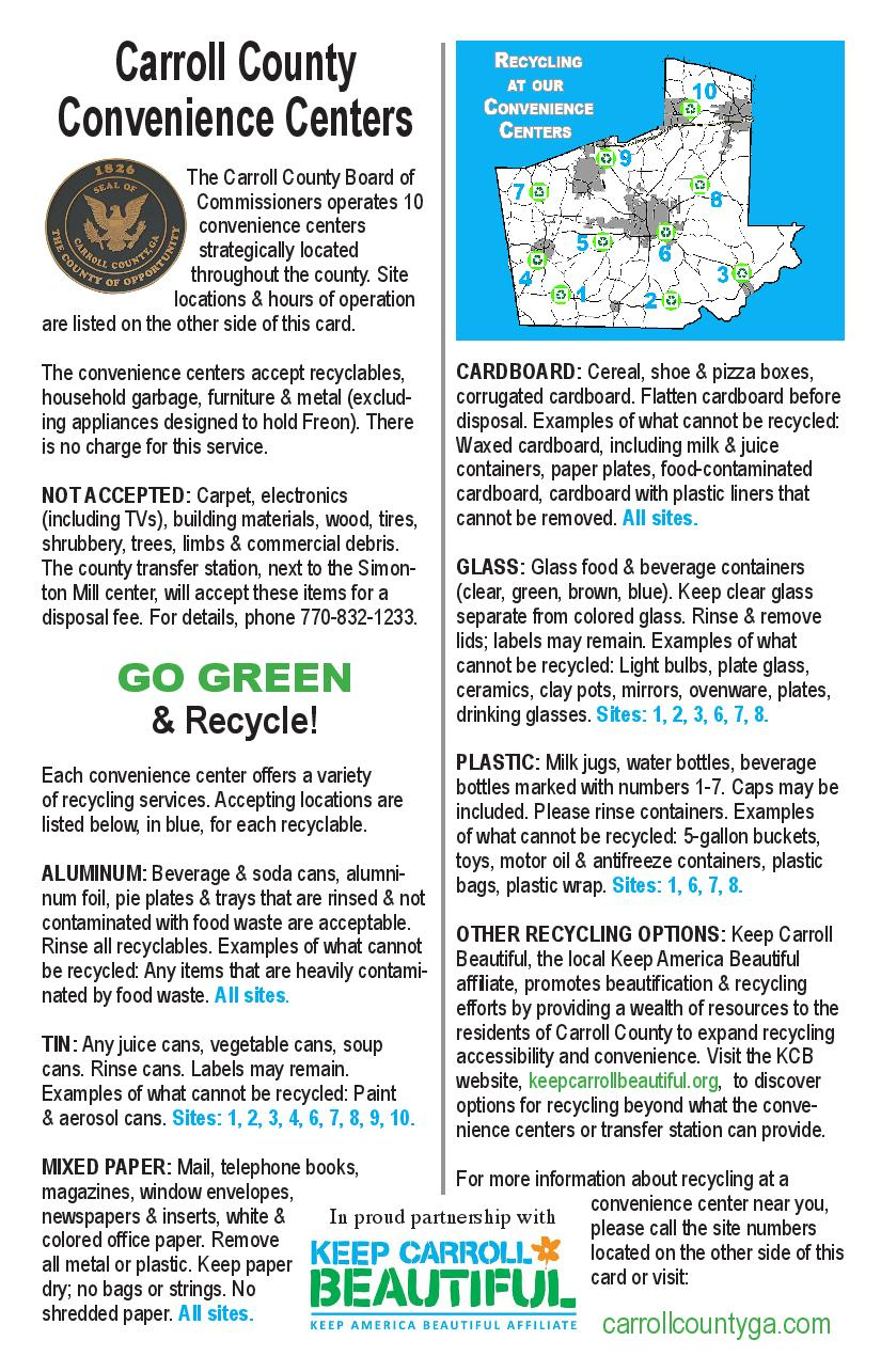 Convenience Centers | Keep Carroll Beautiful