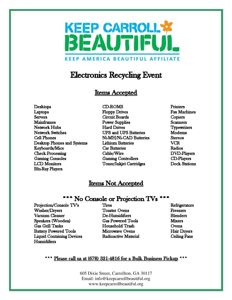 Keep Carroll Beautiful Event Accepted Items